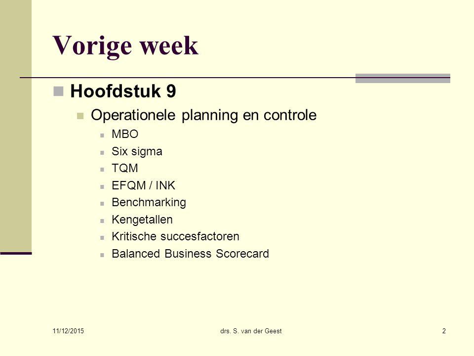 Vorige week Hoofdstuk 9 Operationele planning en controle MBO Six sigma TQM EFQM / INK Benchmarking Kengetallen Kritische succesfactoren Balanced Busi