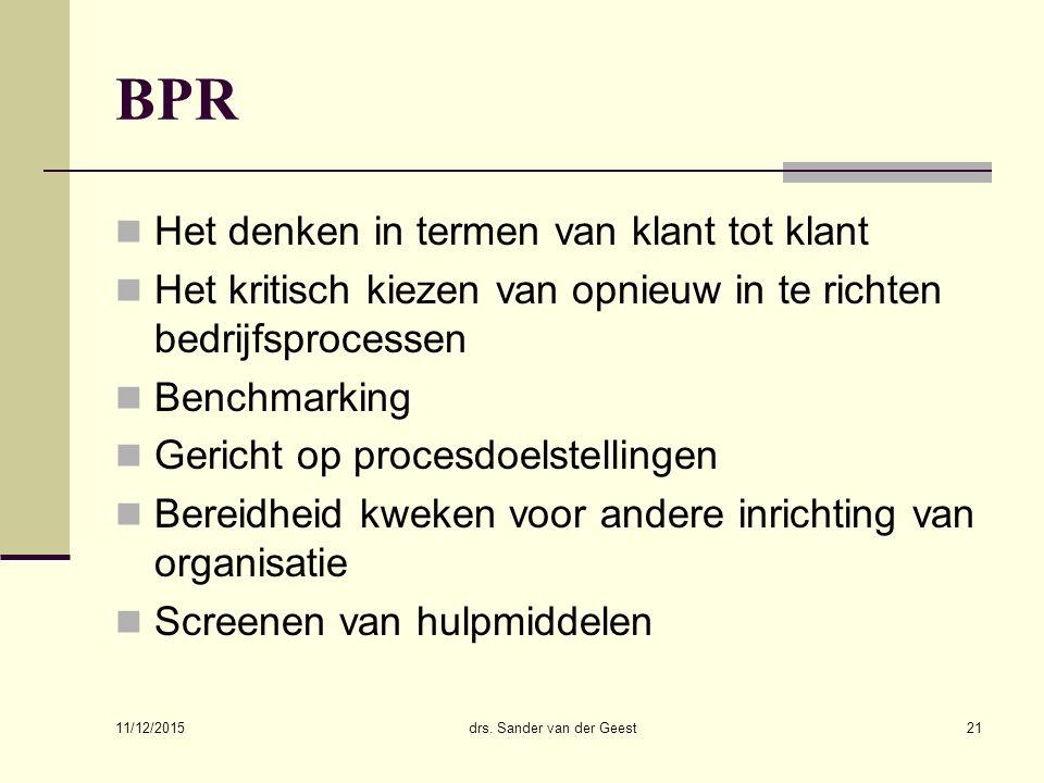 11/12/2015 drs. Sander van der Geest21 BPR Het denken in termen van klant tot klant Het kritisch kiezen van opnieuw in te richten bedrijfsprocessen Be