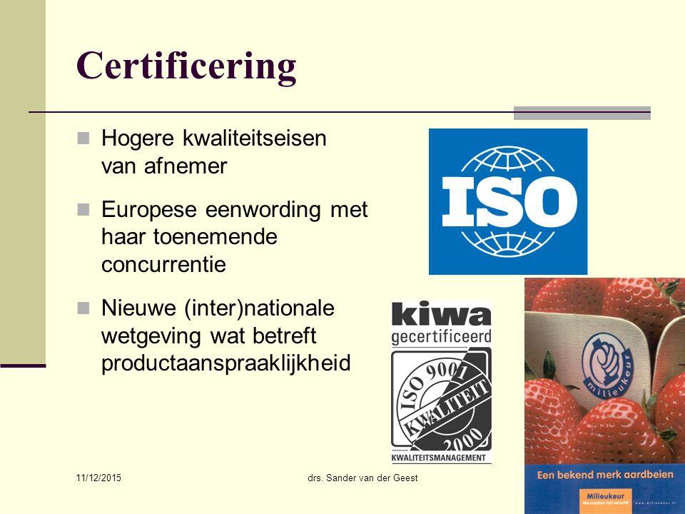 11/12/2015 drs. Sander van der Geest9 Certificering Hogere kwaliteitseisen van afnemer Europese eenwording met haar toenemende concurrentie Nieuwe (in