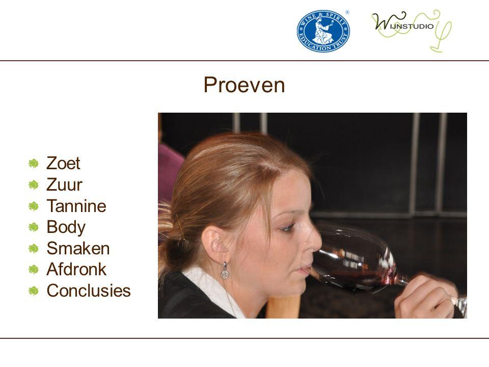Proeven Zoet Zuur Tannine Body Smaken Afdronk Conclusies