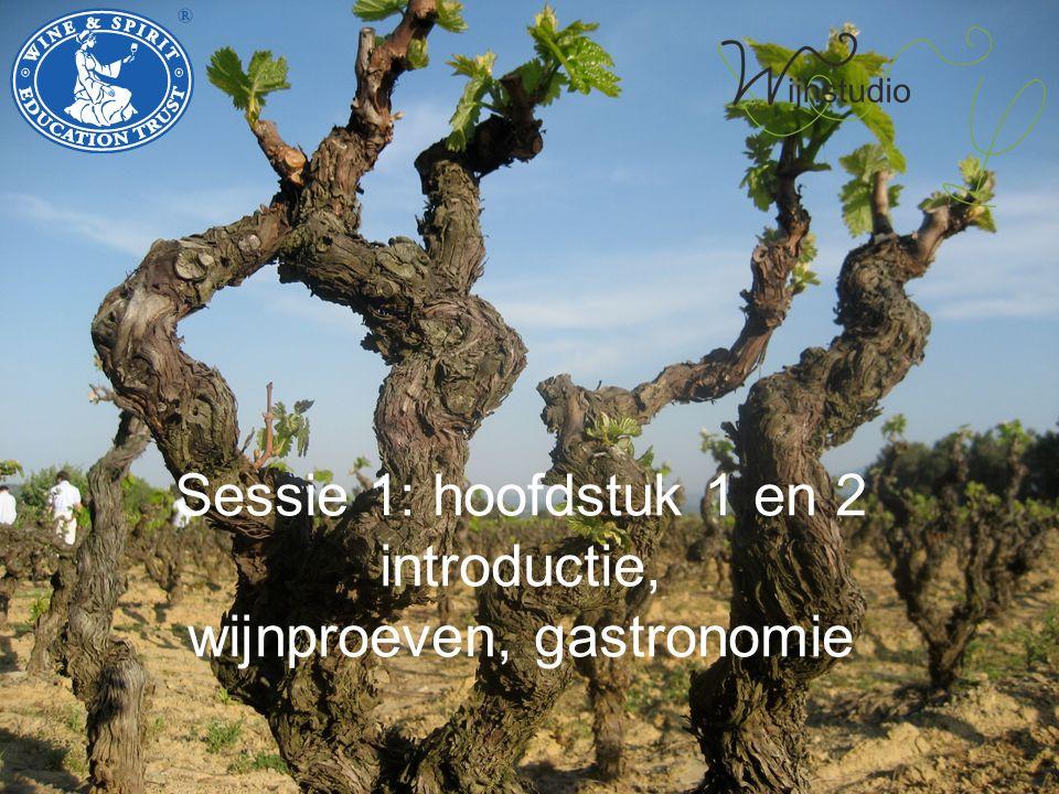 Sessie 1: hoofdstuk 1 en 2 introductie, wijnproeven, gastronomie