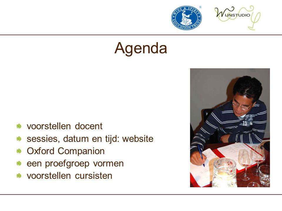 Agenda voorstellen docent sessies, datum en tijd: website Oxford Companion een proefgroep vormen voorstellen cursisten