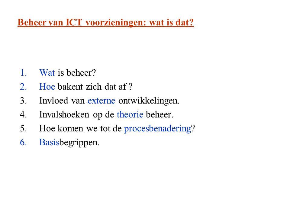 Beheer van ICT voorzieningen: wat is dat. 1.Wat is beheer.
