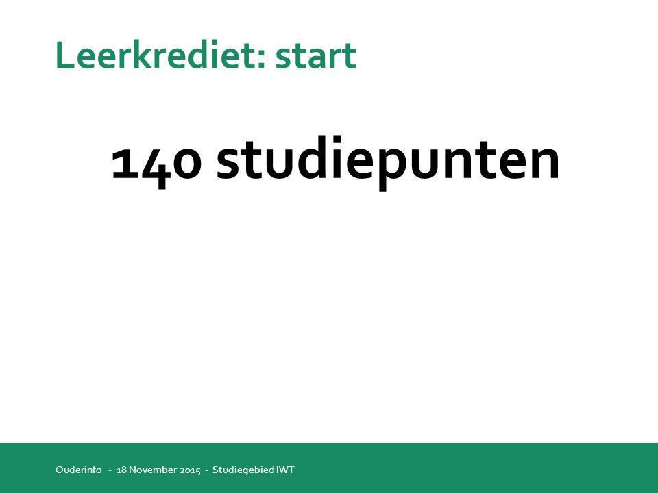 Leerkrediet: start 140 studiepunten Ouderinfo - 18 November 2015 - Studiegebied IWT