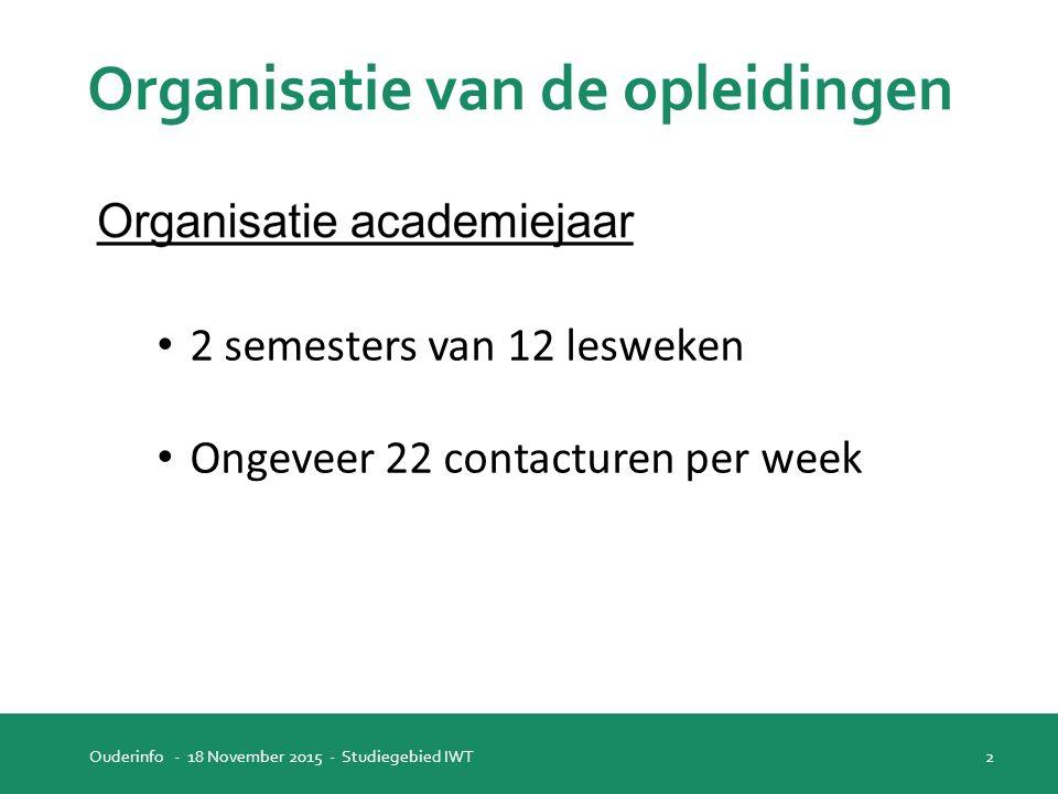 Organisatie van de opleidingen Ouderinfo - 18 November 2015 - Studiegebied IWT 2 2 semesters van 12 lesweken Ongeveer 22 contacturen per week