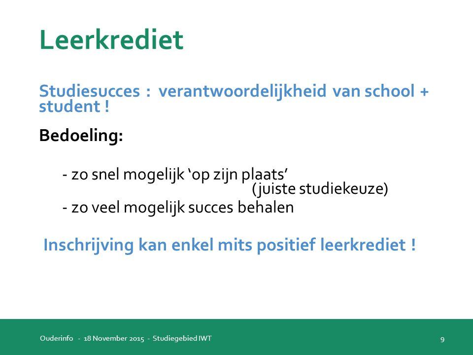 Leerkrediet Studiesucces : verantwoordelijkheid van school + student .
