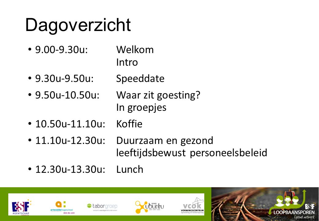 Dagoverzicht 9.00-9.30u: Welkom Intro 9.30u-9.50u: Speeddate 9.50u-10.50u: Waar zit goesting.