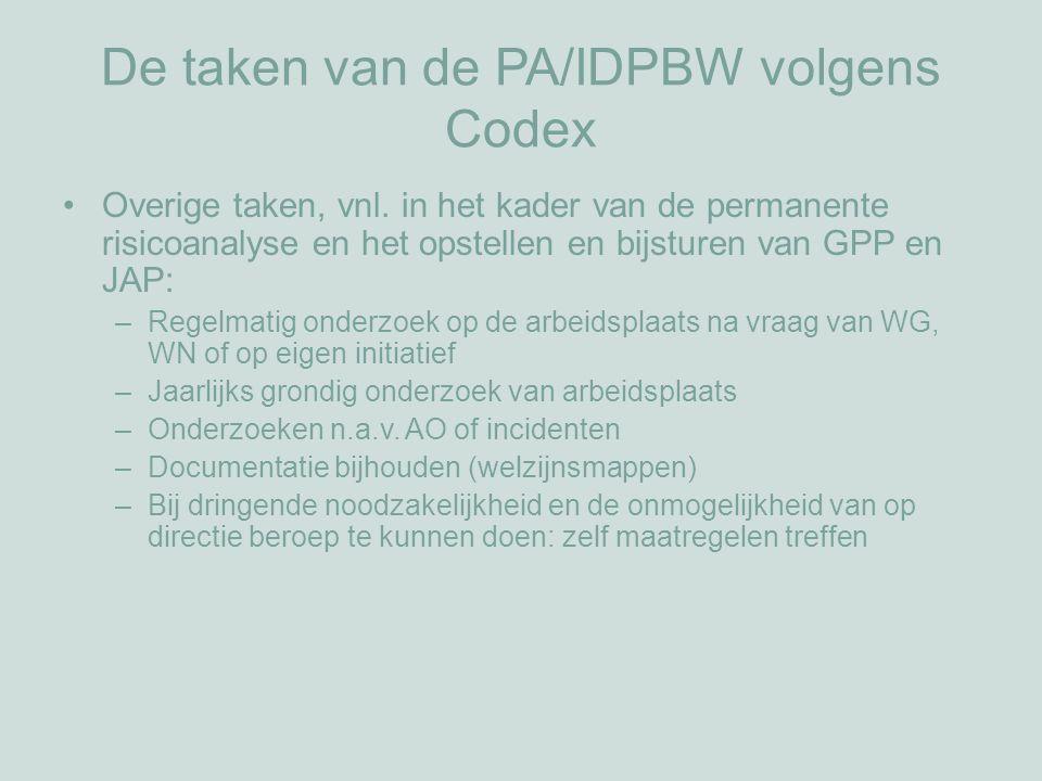 De taken van de PA/IDPBW volgens Codex Overige taken, vnl.