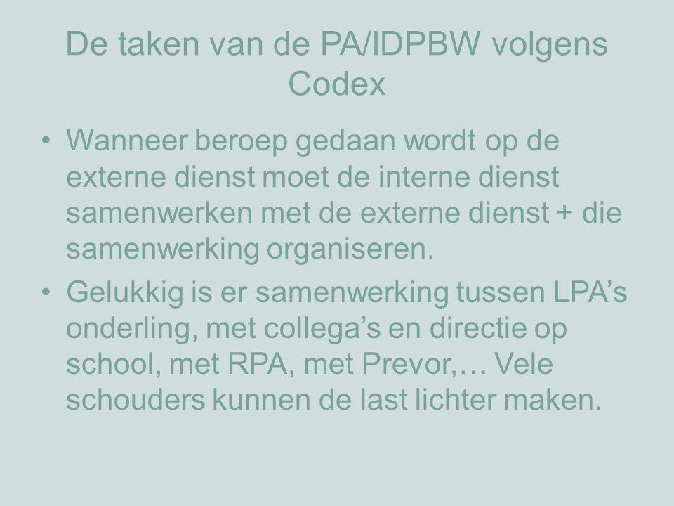 De taken van de PA/IDPBW volgens Codex Wanneer beroep gedaan wordt op de externe dienst moet de interne dienst samenwerken met de externe dienst + die samenwerking organiseren.