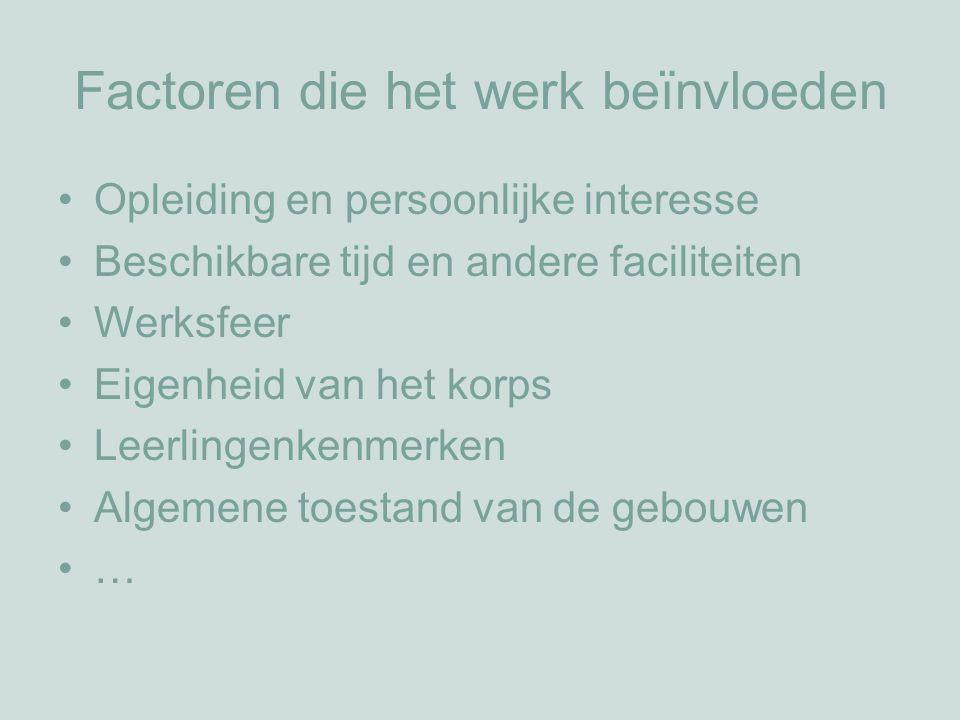 Factoren die het werk beïnvloeden Opleiding en persoonlijke interesse Beschikbare tijd en andere faciliteiten Werksfeer Eigenheid van het korps Leerlingenkenmerken Algemene toestand van de gebouwen …