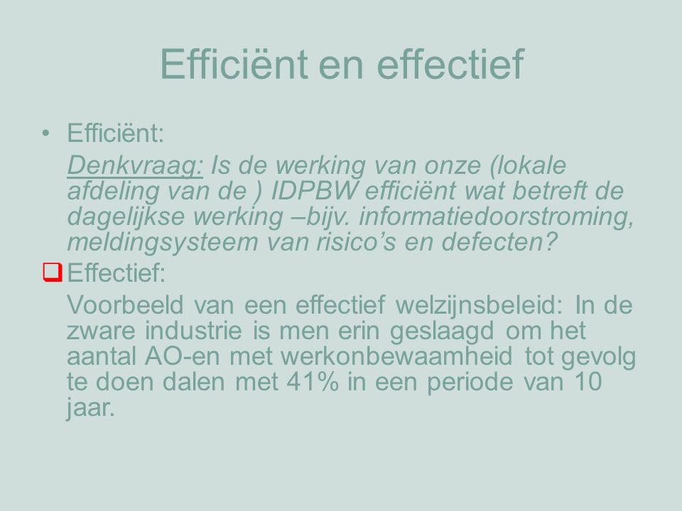 Efficiënt en effectief Efficiënt: Denkvraag: Is de werking van onze (lokale afdeling van de ) IDPBW efficiënt wat betreft de dagelijkse werking –bijv.