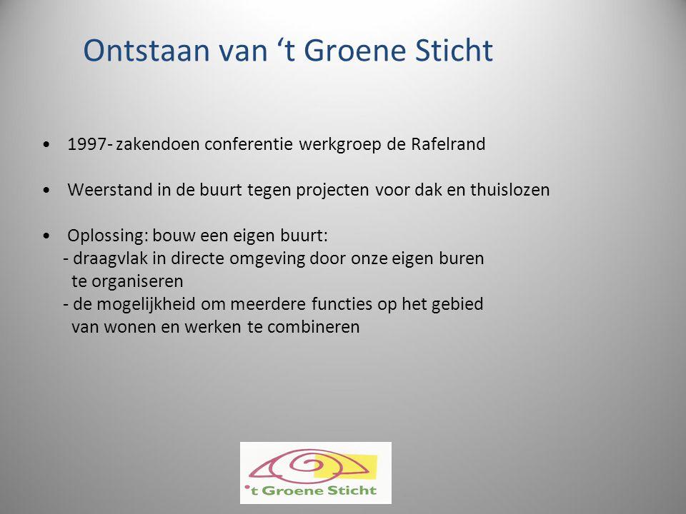 Ontstaan van 't Groene Sticht 1997- zakendoen conferentie werkgroep de Rafelrand Weerstand in de buurt tegen projecten voor dak en thuislozen Oplossin