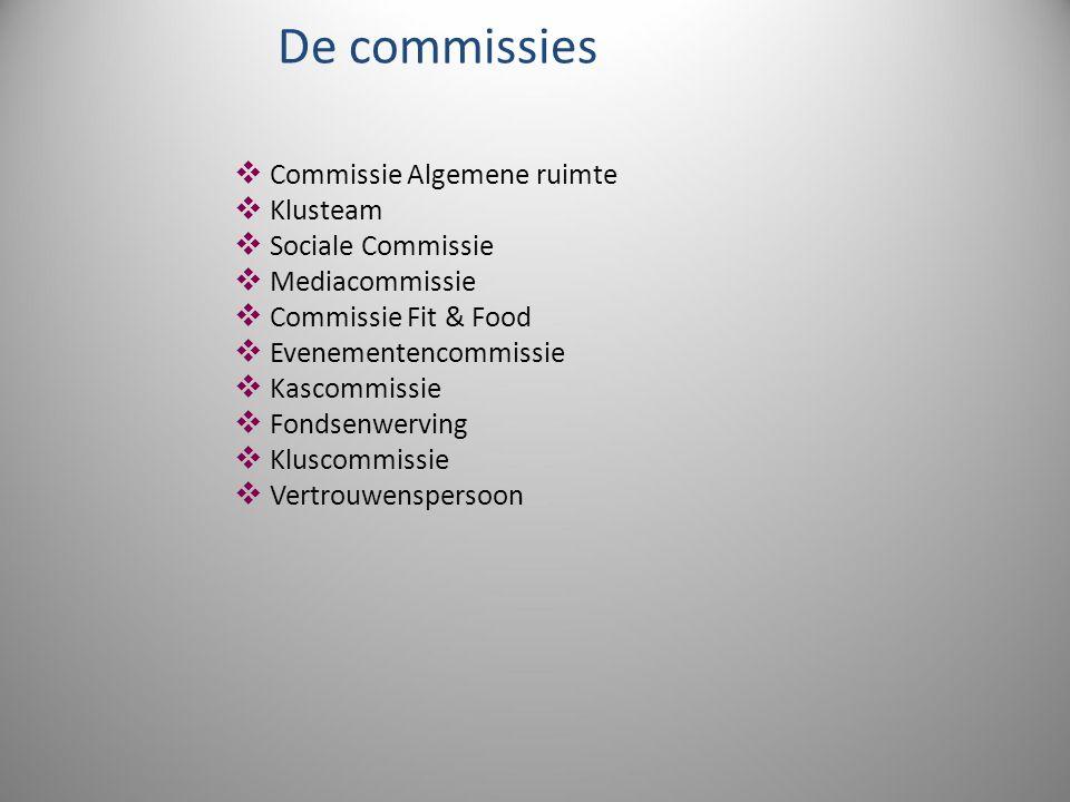 De commissies  Commissie Algemene ruimte  Klusteam  Sociale Commissie  Mediacommissie  Commissie Fit & Food  Evenementencommissie  Kascommissie  Fondsenwerving  Kluscommissie  Vertrouwenspersoon