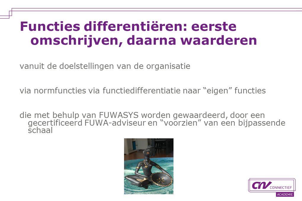 Functies differentiëren: eerste omschrijven, daarna waarderen vanuit de doelstellingen van de organisatie via normfuncties via functiedifferentiatie naar eigen functies die met behulp van FUWASYS worden gewaardeerd, door een gecertificeerd FUWA-adviseur en voorzien van een bijpassende schaal