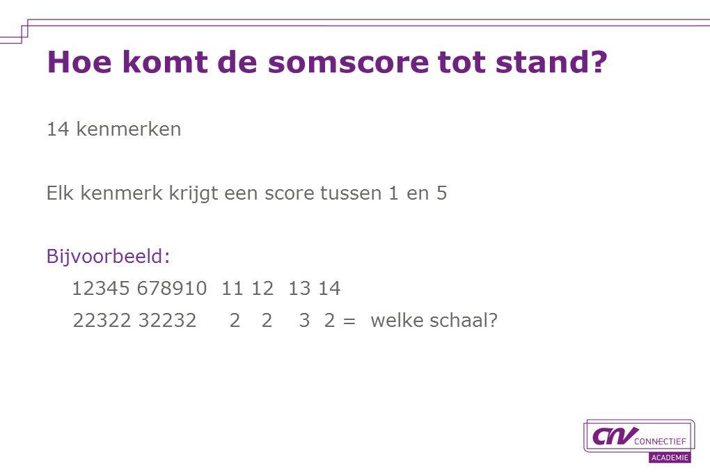 Hoe komt de somscore tot stand? 14 kenmerken Elk kenmerk krijgt een score tussen 1 en 5 Bijvoorbeeld: 12345 678910 11 12 13 14 22322 32232 2 2 3 2 = w