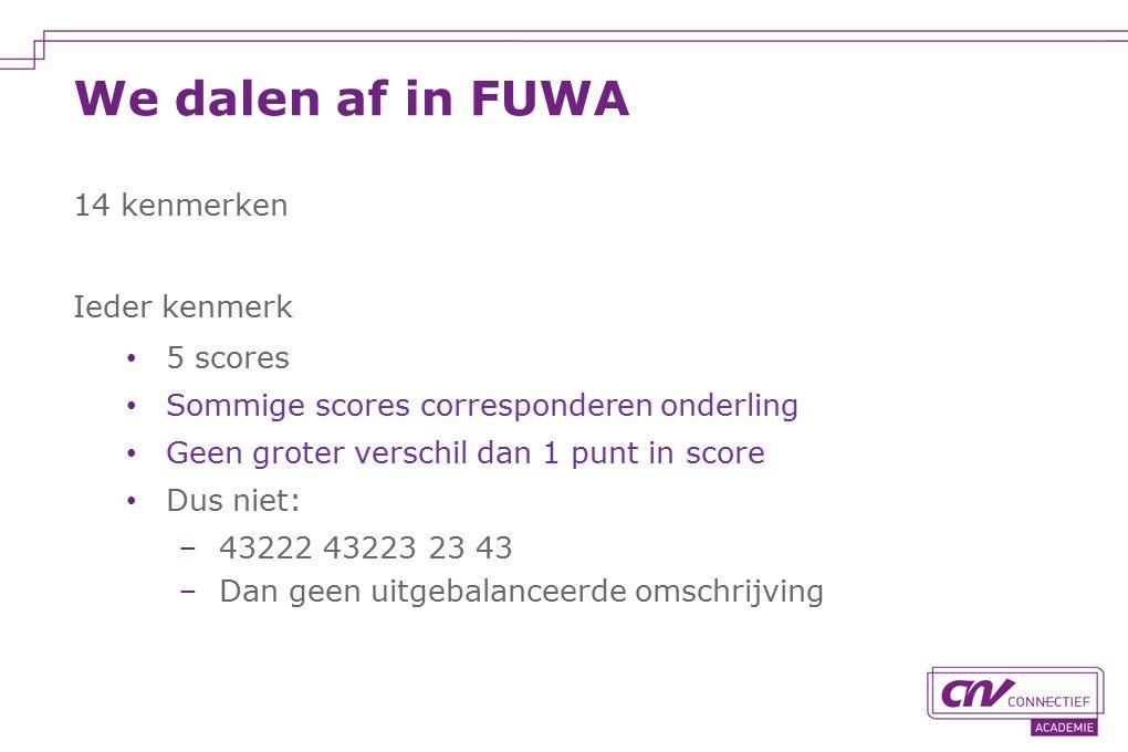 We dalen af in FUWA 14 kenmerken Ieder kenmerk 5 scores Sommige scores corresponderen onderling Geen groter verschil dan 1 punt in score Dus niet: −43222 43223 23 43 −Dan geen uitgebalanceerde omschrijving