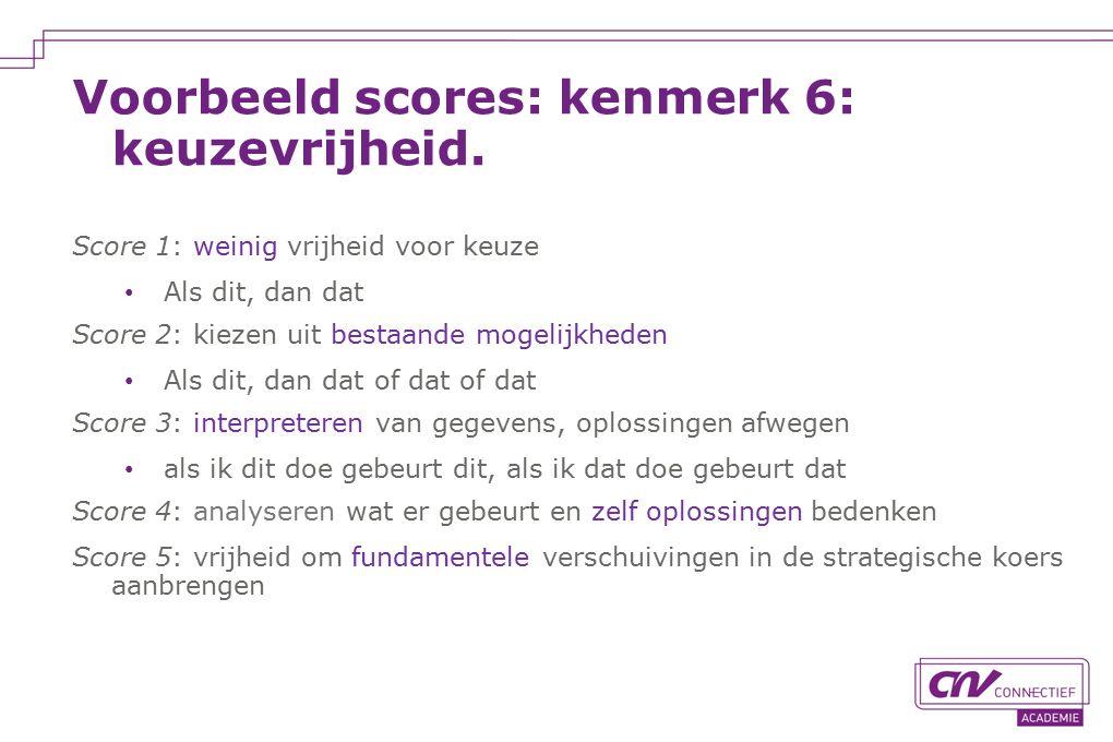 Voorbeeld scores: kenmerk 6: keuzevrijheid.