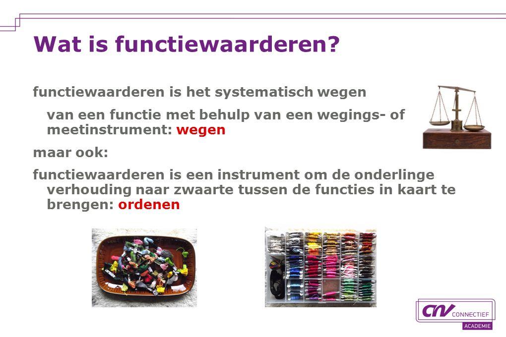 Wat is functiewaarderen? functiewaarderen is het systematisch wegen van een functie met behulp van een wegings- of meetinstrument: wegen maar ook: fun
