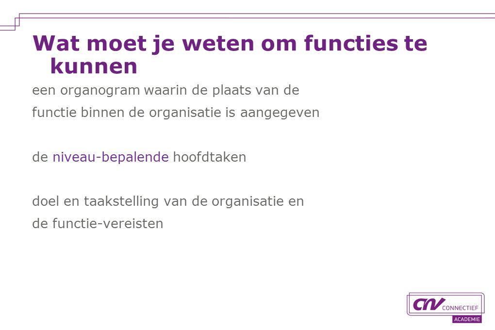 Wat moet je weten om functies te kunnen een organogram waarin de plaats van de functie binnen de organisatie is aangegeven de niveau-bepalende hoofdtaken doel en taakstelling van de organisatie en de functie-vereisten
