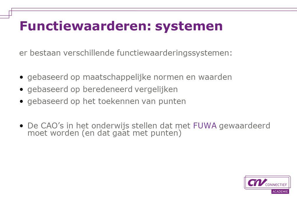 Functiewaarderen: systemen er bestaan verschillende functiewaarderingssystemen: gebaseerd op maatschappelijke normen en waarden gebaseerd op beredeneerd vergelijken gebaseerd op het toekennen van punten De CAO's in het onderwijs stellen dat met FUWA gewaardeerd moet worden (en dat gaat met punten)