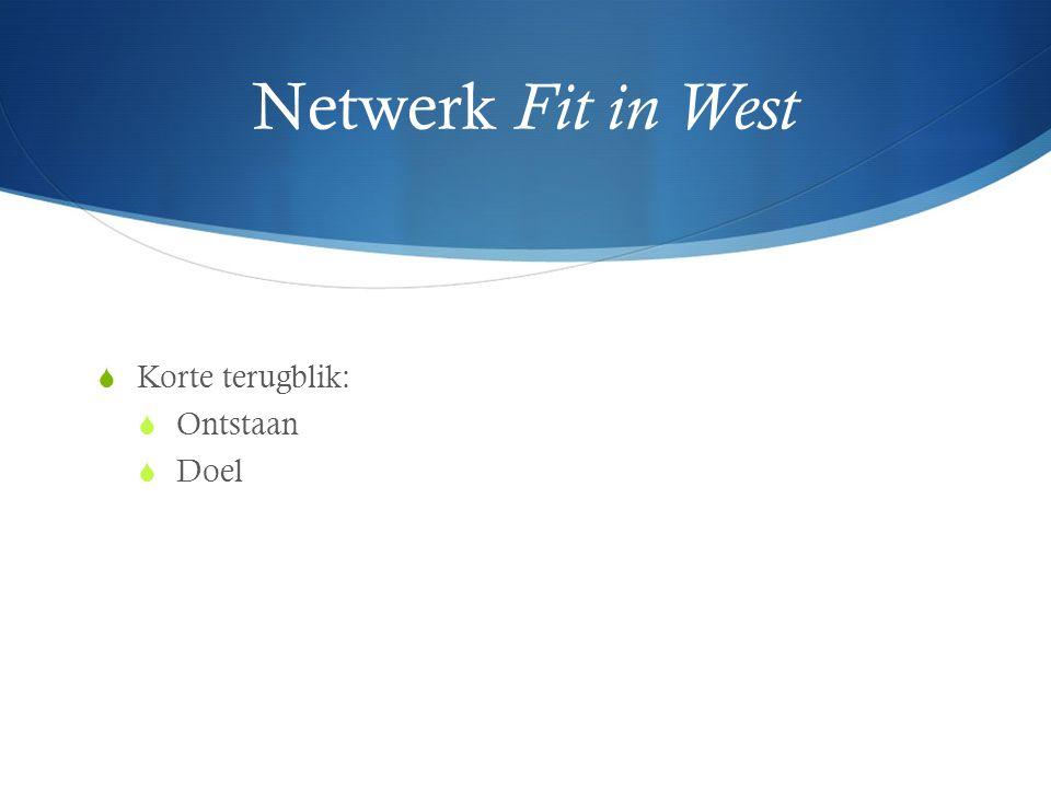 Netwerk Fit in West  Korte terugblik:  Ontstaan  Doel