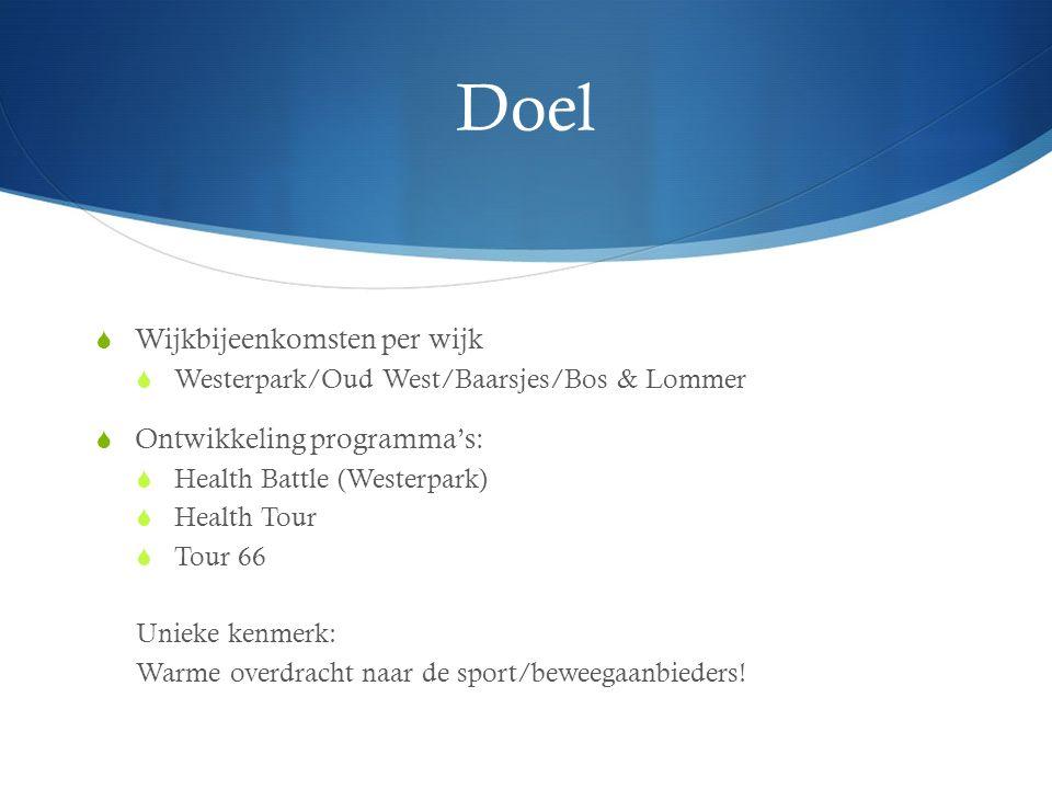 Doel  Wijkbijeenkomsten per wijk  Westerpark/Oud West/Baarsjes/Bos & Lommer  Ontwikkeling programma's:  Health Battle (Westerpark)  Health Tour  Tour 66 Unieke kenmerk: Warme overdracht naar de sport/beweegaanbieders!