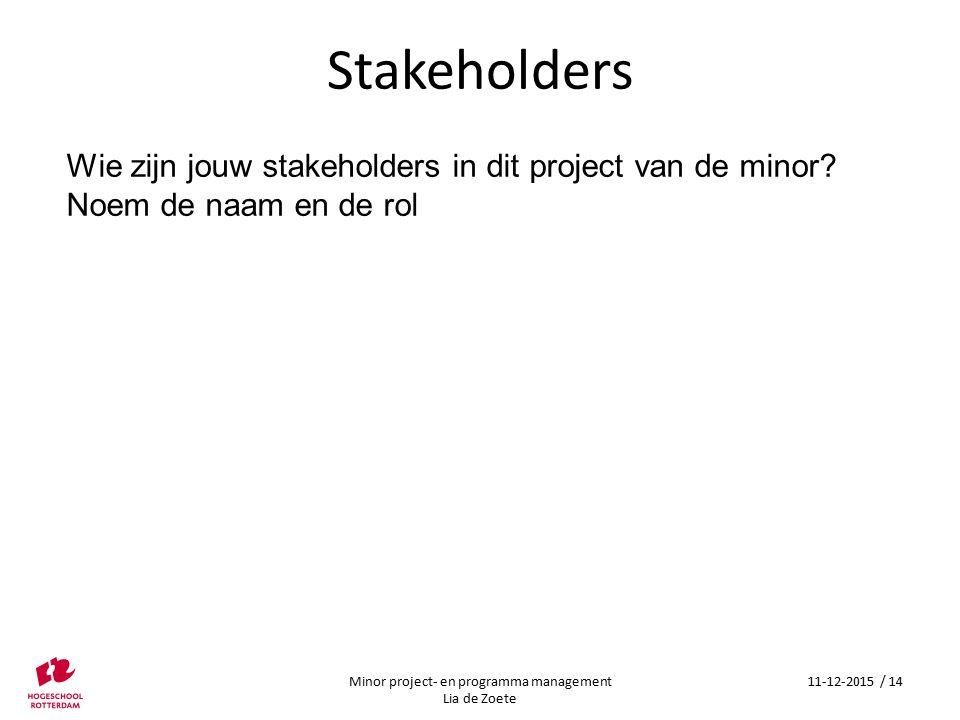 Stakeholders Wie zijn jouw stakeholders in dit project van de minor.