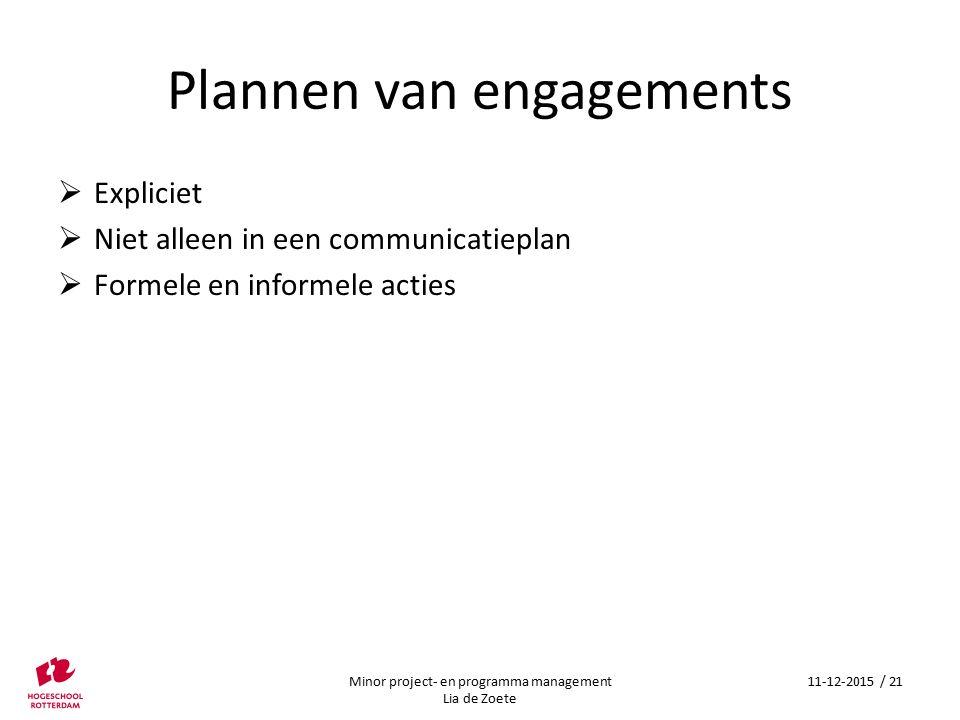 Plannen van engagements  Expliciet  Niet alleen in een communicatieplan  Formele en informele acties Minor project- en programma management Lia de Zoete 11-12-2015 / 21