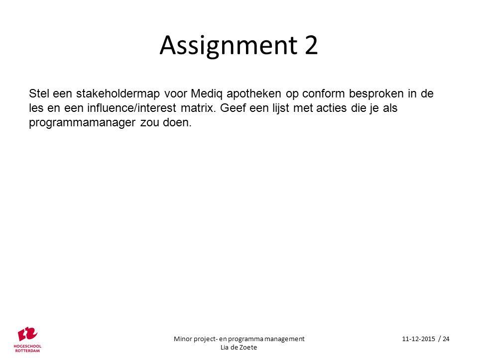 Assignment 2 Minor project- en programma management Lia de Zoete 11-12-2015 / 24 Stel een stakeholdermap voor Mediq apotheken op conform besproken in de les en een influence/interest matrix.