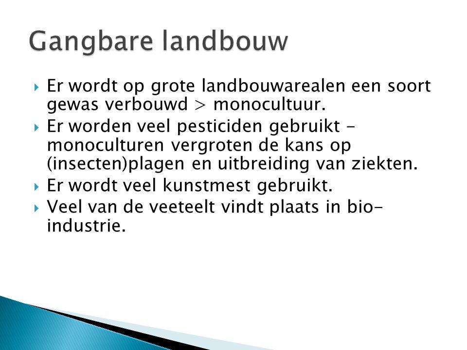  Er wordt op grote landbouwarealen een soort gewas verbouwd > monocultuur.  Er worden veel pesticiden gebruikt - monoculturen vergroten de kans op (