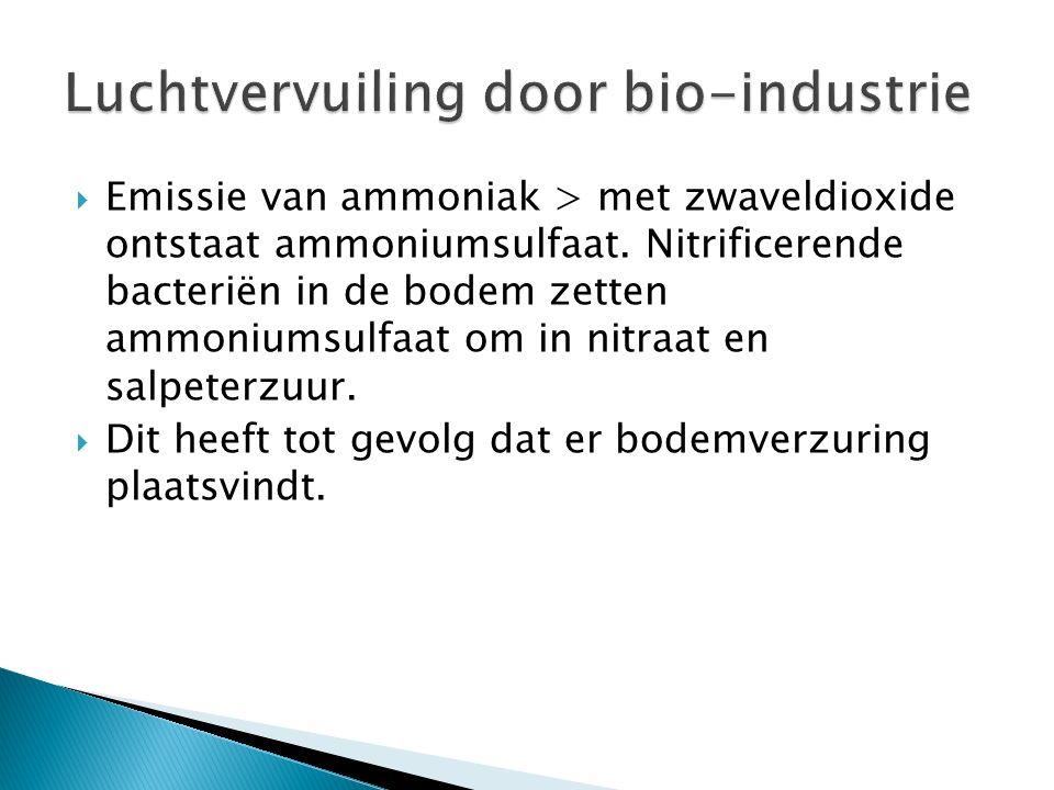 Emissie van ammoniak > met zwaveldioxide ontstaat ammoniumsulfaat. Nitrificerende bacteriën in de bodem zetten ammoniumsulfaat om in nitraat en salp