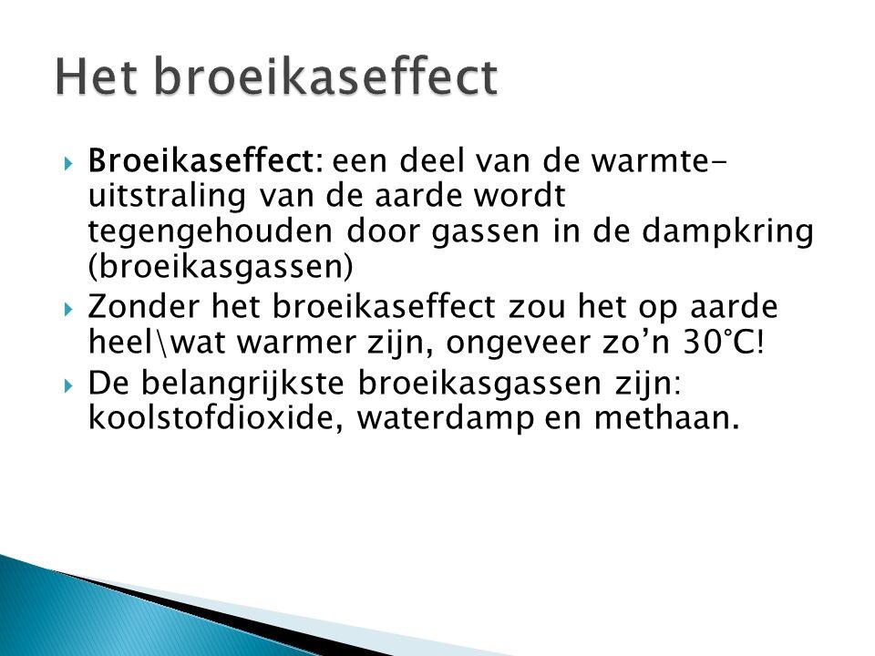  Broeikaseffect: een deel van de warmte- uitstraling van de aarde wordt tegengehouden door gassen in de dampkring (broeikasgassen)  Zonder het broei