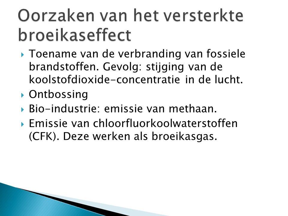  Toename van de verbranding van fossiele brandstoffen. Gevolg: stijging van de koolstofdioxide-concentratie in de lucht.  Ontbossing  Bio-industrie