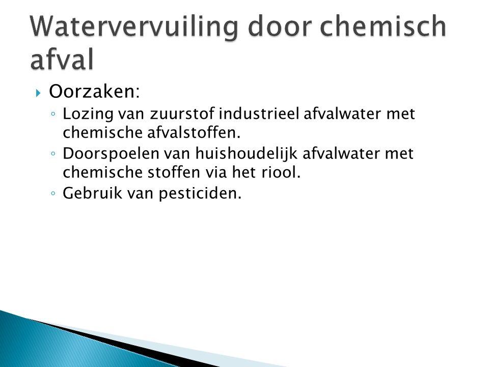  Oorzaken: ◦ Lozing van zuurstof industrieel afvalwater met chemische afvalstoffen. ◦ Doorspoelen van huishoudelijk afvalwater met chemische stoffen