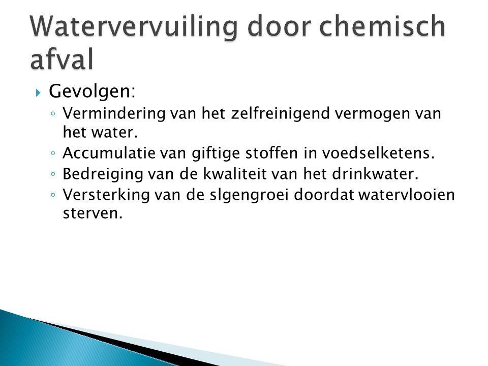  Gevolgen: ◦ Vermindering van het zelfreinigend vermogen van het water. ◦ Accumulatie van giftige stoffen in voedselketens. ◦ Bedreiging van de kwali