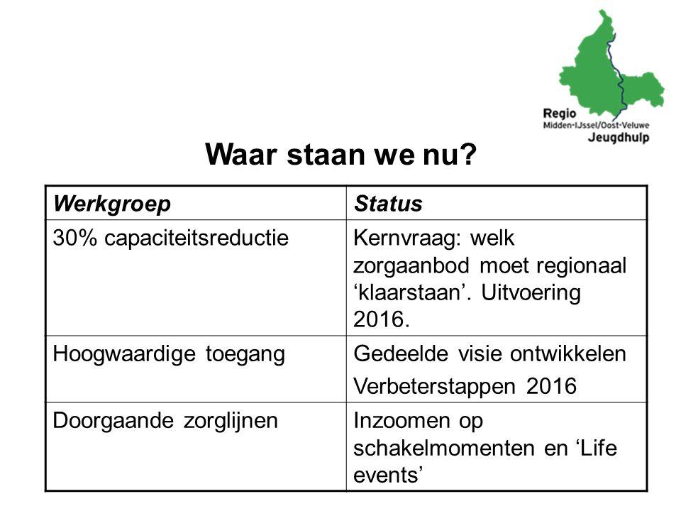 Waar staan we nu? WerkgroepStatus 30% capaciteitsreductieKernvraag: welk zorgaanbod moet regionaal 'klaarstaan'. Uitvoering 2016. Hoogwaardige toegang