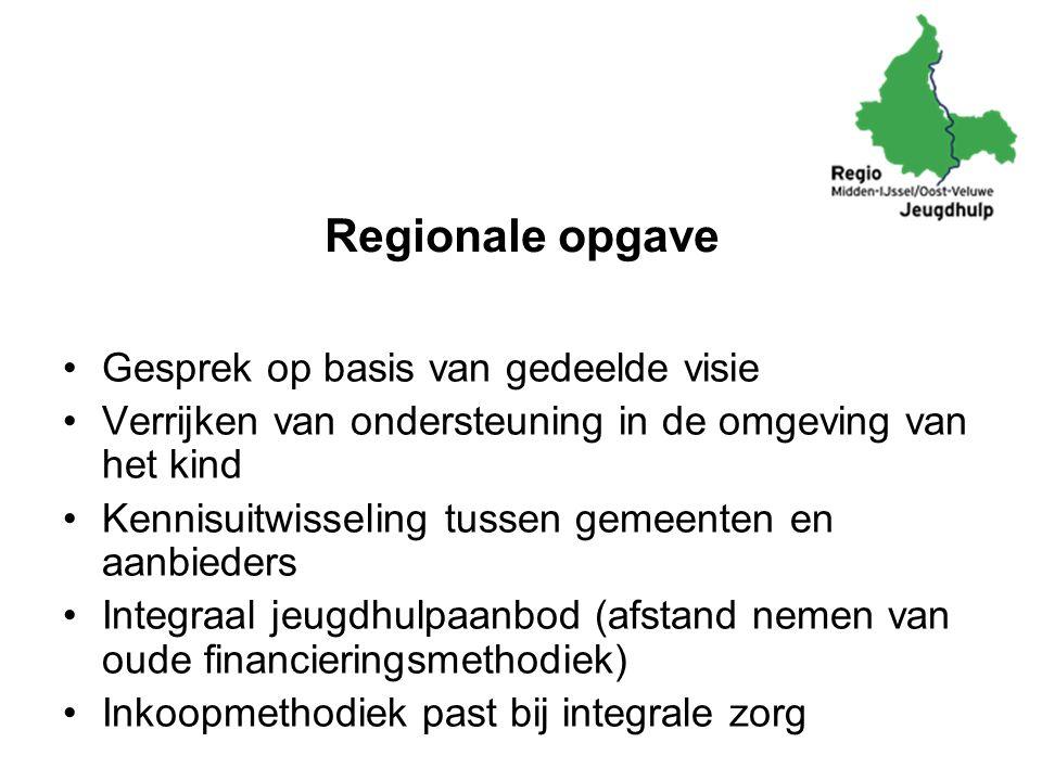 Regionale opgave Gesprek op basis van gedeelde visie Verrijken van ondersteuning in de omgeving van het kind Kennisuitwisseling tussen gemeenten en aa