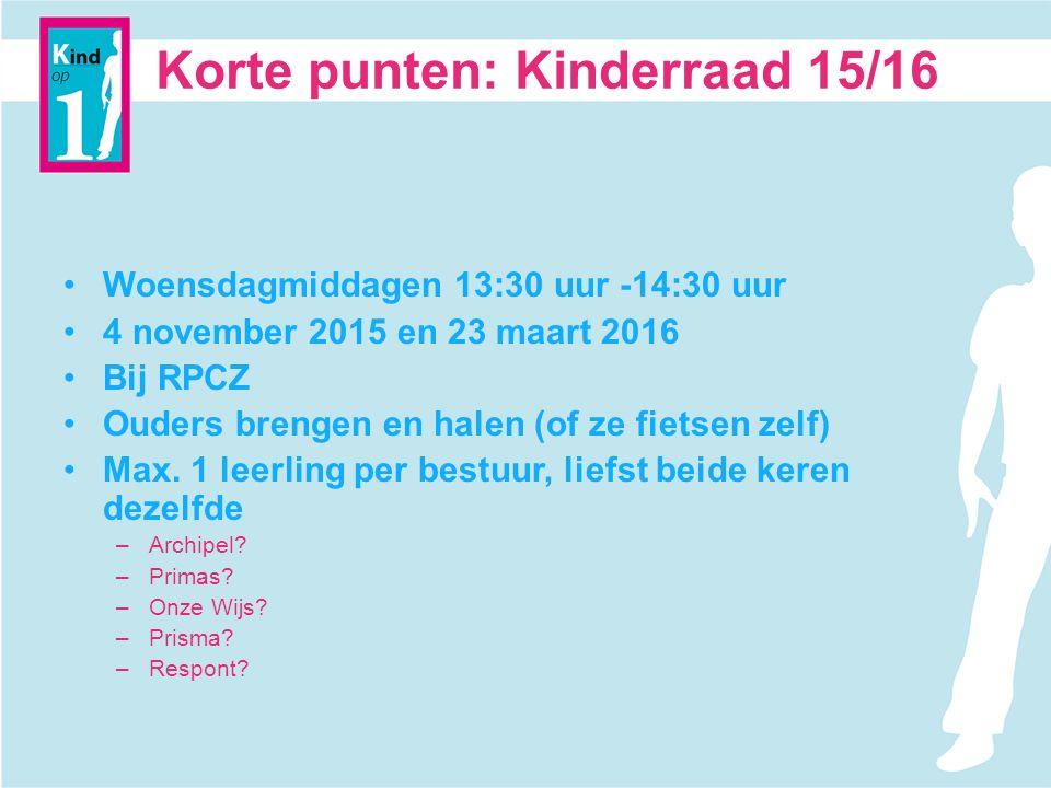 Korte punten: Kinderraad 15/16 Woensdagmiddagen 13:30 uur -14:30 uur 4 november 2015 en 23 maart 2016 Bij RPCZ Ouders brengen en halen (of ze fietsen zelf) Max.