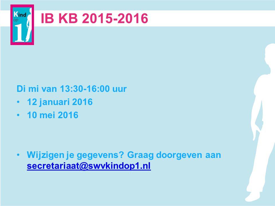 IB KB 2015-2016 Di mi van 13:30-16:00 uur 12 januari 2016 10 mei 2016 Wijzigen je gegevens.
