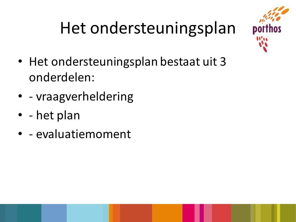 Het ondersteuningsplan Het ondersteuningsplan bestaat uit 3 onderdelen: - vraagverheldering - het plan - evaluatiemoment