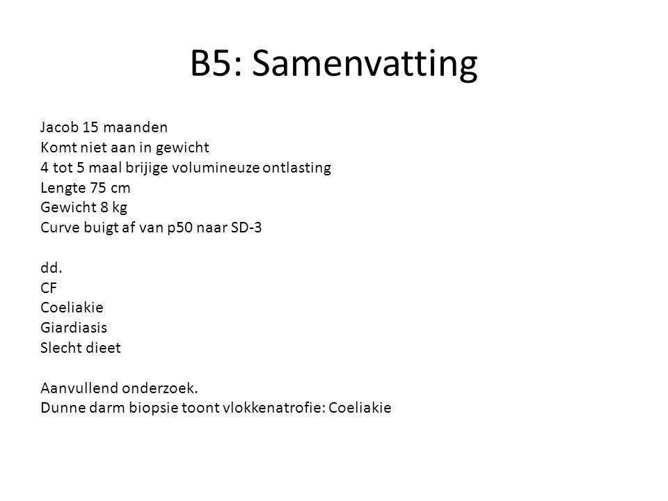 B5: Samenvatting Jacob 15 maanden Komt niet aan in gewicht 4 tot 5 maal brijige volumineuze ontlasting Lengte 75 cm Gewicht 8 kg Curve buigt af van p50 naar SD-3 dd.
