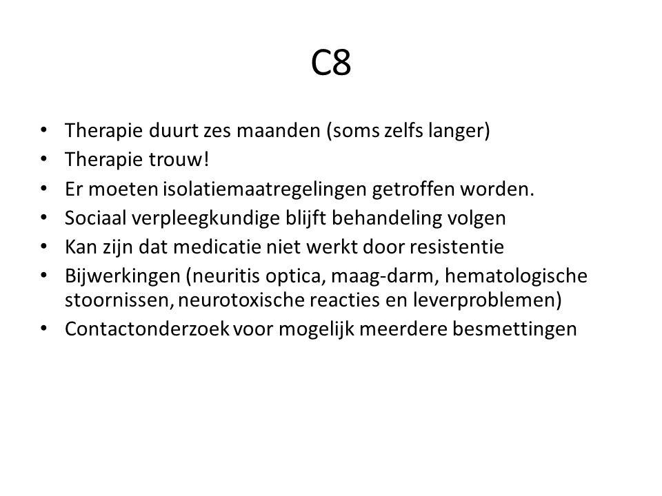 C8 Therapie duurt zes maanden (soms zelfs langer) Therapie trouw.