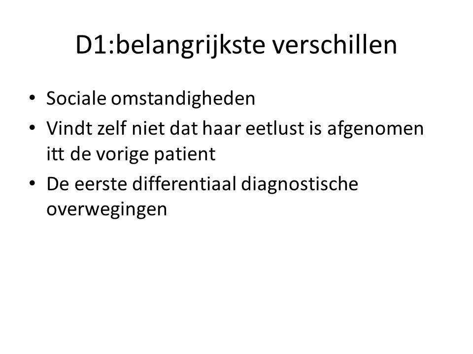 D1:belangrijkste verschillen Sociale omstandigheden Vindt zelf niet dat haar eetlust is afgenomen itt de vorige patient De eerste differentiaal diagnostische overwegingen