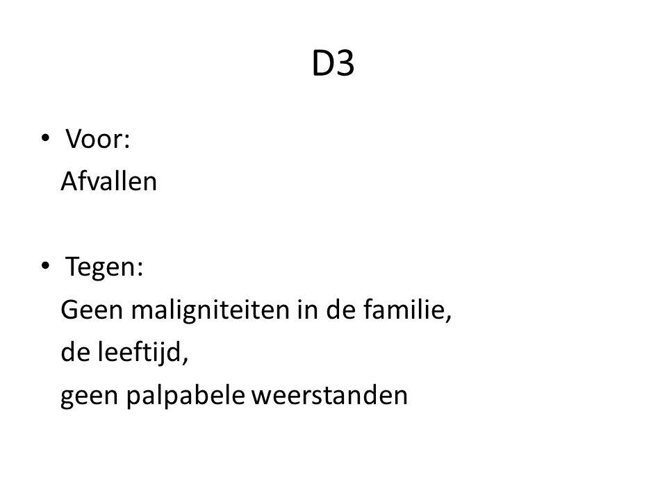 D3 Voor: Afvallen Tegen: Geen maligniteiten in de familie, de leeftijd, geen palpabele weerstanden
