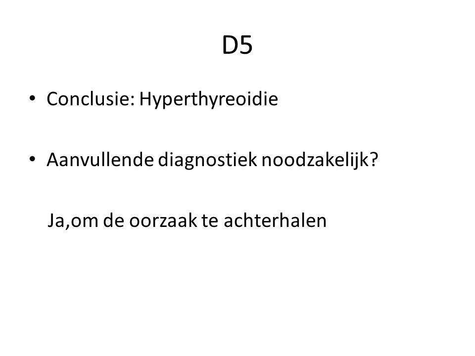 D5 Conclusie: Hyperthyreoidie Aanvullende diagnostiek noodzakelijk? Ja,om de oorzaak te achterhalen