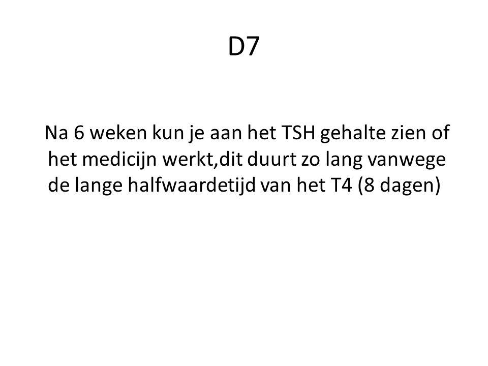 D7 Na 6 weken kun je aan het TSH gehalte zien of het medicijn werkt,dit duurt zo lang vanwege de lange halfwaardetijd van het T4 (8 dagen)
