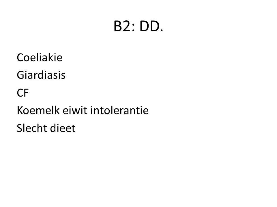 B2: DD. Coeliakie Giardiasis CF Koemelk eiwit intolerantie Slecht dieet