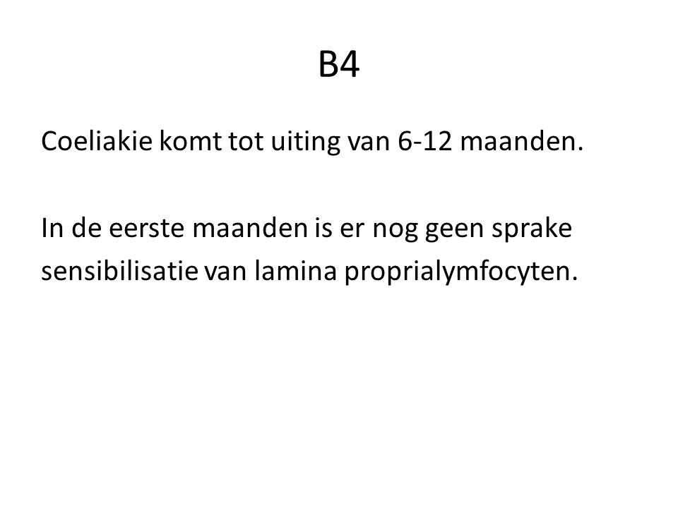 B4 Coeliakie komt tot uiting van 6-12 maanden.