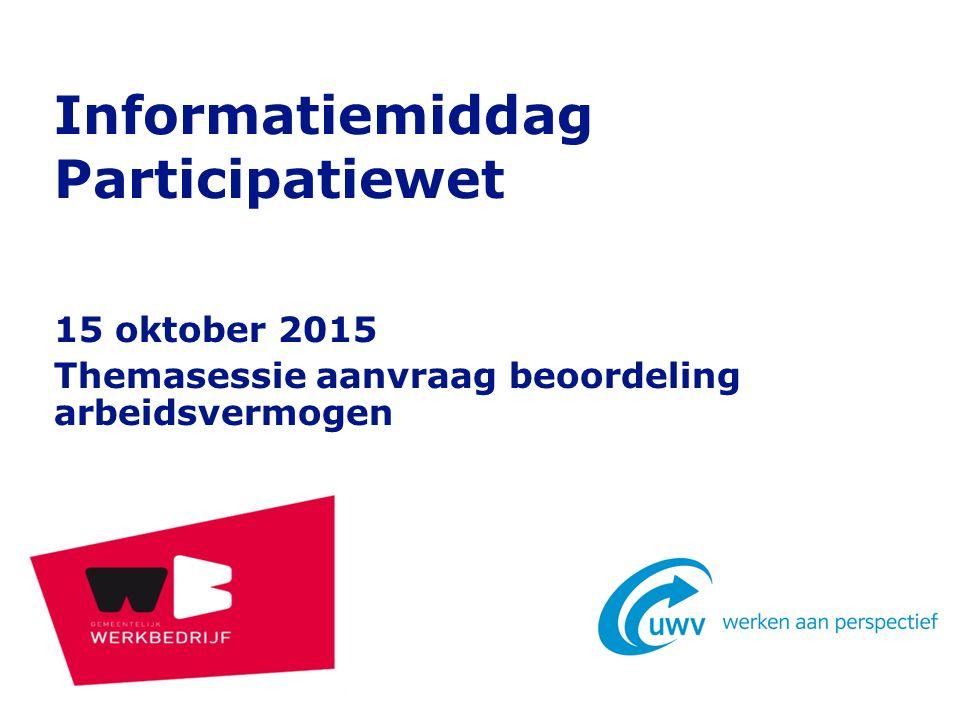 15 oktober 2015 Themasessie aanvraag beoordeling arbeidsvermogen Informatiemiddag Participatiewet