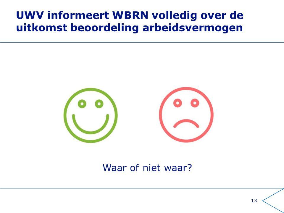 UWV informeert WBRN volledig over de uitkomst beoordeling arbeidsvermogen 13 Waar of niet waar?